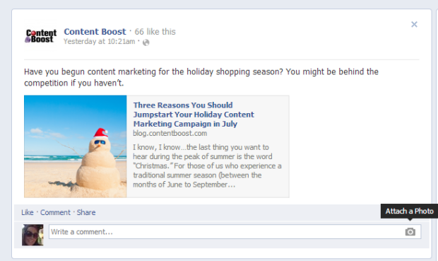 Content Boost on Facebook